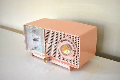 Cherry Blossom Pink Vintage 1959 General Electric Model C437A Vacuum Tube AM Clock Radio Cream Puff!