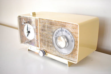 Bluetooth Ready To Go - Beige Ivory 1967 General Electric Model C-545F AM Vacuum Tube Clock Radio Always On Clock Light Works Great!