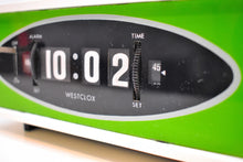 Load image into Gallery viewer, Grasshopper Green 1970s Westclox Model S-38A Flip Roller Clock Works Great Looks Fantastic