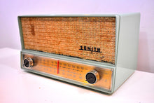 Load image into Gallery viewer, Mint Green Mid Century 1959 Zenith S-41876 AM/FM Vacuum Tube Radio Sounds Great!