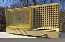Load image into Gallery viewer, SOLD! - Apr 3, 2017 - GLOSSY IVORY Retro Jetsons Vintage 1958 Arvin Model 5578 AM Tube Clock Radio WORKS! - [product_type} - Arvin - Retro Radio Farm