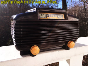 SOLD! - Mar 4, 2016 - EXTREMELY RARE Art Deco Vintage Retro Industrial Age 1950 Cromwell Model 1020 Bakelite Tube Radio Totally Restored! - [product_type} - Cromwell - Retro Radio Farm
