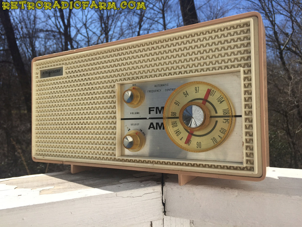 SOLD! - Apr 16, 2016 - BLUETOOTH MP3 Ready - AM FM Mauve Pink Retro Mid Century Jetsons Vintage 1962 Firestone Air Chief  Tube Radio Rare! , Vintage Radio - Firestone, Retro Radio Farm  - 1
