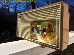 SOLD! - Apr 16, 2016 - BLUETOOTH MP3 Ready - AM FM Mauve Pink Retro Mid Century Jetsons Vintage 1962 Firestone Air Chief  Tube Radio Rare! , Vintage Radio - Firestone, Retro Radio Farm  - 5