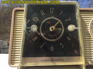 SOLD! - Dec 2, 2016 - BLUETOOTH MP3 READY - Taupe and Ivory 1959 General Electric Model C-405 Tube AM Clock Radio - [product_type} - General Electric - Retro Radio Farm