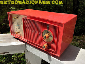 SOLD! - May 30, 2016 - BLUETOOTH MP3 Ready - Salmon Pink Mid Century Jetsons 1959 Zenith Model E514A Tube AM Clock Radio Works Great! , Vintage Radio - Zenith, Retro Radio Farm  - 8