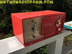 SOLD! - May 30, 2016 - BLUETOOTH MP3 Ready - Salmon Pink Mid Century Jetsons 1959 Zenith Model E514A Tube AM Clock Radio Works Great! , Vintage Radio - Zenith, Retro Radio Farm  - 9