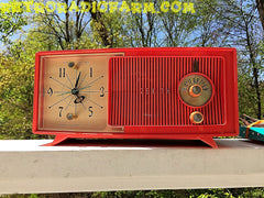 SOLD! - May 30, 2016 - BLUETOOTH MP3 Ready - Salmon Pink Mid Century Jetsons 1959 Zenith Model E514A Tube AM Clock Radio Works Great! , Vintage Radio - Zenith, Retro Radio Farm  - 11