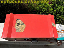 Load image into Gallery viewer, SOLD! - May 30, 2016 - BLUETOOTH MP3 Ready - Salmon Pink Mid Century Jetsons 1959 Zenith Model E514A Tube AM Clock Radio Works Great! , Vintage Radio - Zenith, Retro Radio Farm  - 15