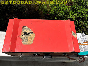SOLD! - May 30, 2016 - BLUETOOTH MP3 Ready - Salmon Pink Mid Century Jetsons 1959 Zenith Model E514A Tube AM Clock Radio Works Great! - [product_type} - Zenith - Retro Radio Farm