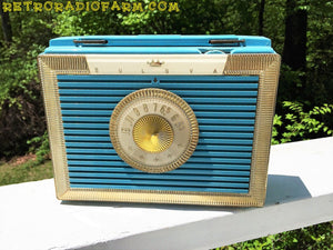 SOLD! - Dec 4, 2016 - CLEOPATRA Teal and Gold Vintage Antique Mid Century 1955 Bulova Companion Model 206 Portable Tube AM Radio Bling! Bling! - [product_type} - Bulova - Retro Radio Farm