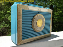 Load image into Gallery viewer, SOLD! - Dec 4, 2016 - CLEOPATRA Teal and Gold Vintage Antique Mid Century 1955 Bulova Companion Model 206 Portable Tube AM Radio Bling! Bling! - [product_type} - Bulova - Retro Radio Farm