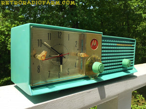 SOLD! - June 16, 2016 - BLUETOOTH MP3 Ready - AQUA BLUE Bi-level Retro Jetsons 1957 Motorola 57CD Tube AM Clock Radio Works Great! - [product_type} - Motorola - Retro Radio Farm