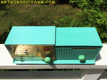 Load image into Gallery viewer, SOLD! - June 16, 2016 - BLUETOOTH MP3 Ready - AQUA BLUE Bi-level Retro Jetsons 1957 Motorola 57CD Tube AM Clock Radio Works Great! - [product_type} - Motorola - Retro Radio Farm