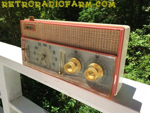 SOLD! - Mar 8, 2017 - RARE BEYOND RARE Rose Pink Retro Jetsons Vintage 1961 Arvin Model 51R56 AM Tube Clock Radio Amazing!