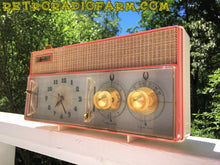 Load image into Gallery viewer, SOLD! - Mar 8, 2017 - RARE BEYOND RARE Rose Pink Retro Jetsons Vintage 1961 Arvin Model 51R56 AM Tube Clock Radio Amazing!