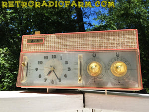 SOLD! - Mar 8, 2017 - RARE BEYOND RARE Rose Pink Retro Jetsons Vintage 1961 Arvin Model 51R56 AM Tube Clock Radio Amazing! - [product_type} - Arvin - Retro Radio Farm