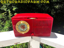 Load image into Gallery viewer, SOLD! - June 16, 2016 - BLUETOOTH MP3 READY - Cherry Red Mid Century Jetsons 1951 General Electric Model 517F Tube AM Clock Radio Totally Restored!
