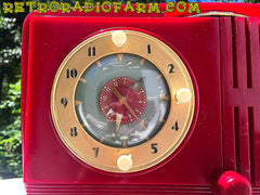 SOLD! - June 16, 2016 - BLUETOOTH MP3 READY - Cherry Red Mid Century Jetsons 1951 General Electric Model 517F Tube AM Clock Radio Totally Restored!