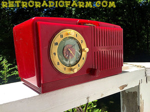 SOLD! - June 16, 2016 - BLUETOOTH MP3 READY - Cherry Red Mid Century Jetsons 1951 General Electric Model 517F Tube AM Clock Radio Totally Restored! - [product_type} - General Electric - Retro Radio Farm