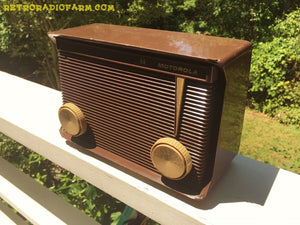SOLD! - Jan 24, 2017 - BLUETOOTH MP3 READY - Chocolate Brown Retro Jetsons 1959 Motorola Model A1N-23 Tube AM Clock Radio Totally Restored! - [product_type} - Motorola - Retro Radio Farm