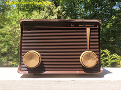 SOLD! - Jan 24, 2017 - BLUETOOTH MP3 READY - Chocolate Brown Retro Jetsons 1959 Motorola Model A1N-23 Tube AM Clock Radio Totally Restored!