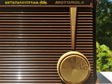 Load image into Gallery viewer, SOLD! - Jan 24, 2017 - BLUETOOTH MP3 READY - Chocolate Brown Retro Jetsons 1959 Motorola Model A1N-23 Tube AM Clock Radio Totally Restored! - [product_type} - Motorola - Retro Radio Farm