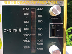 SOLD! - July 3, 2017 - AVOCADO Green Retro Mid Century Vintage 1972 Zenith Model C-412F AM FM Solid State Radio Amazing!