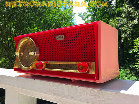 SOLD! - Nov 17, 2016 - VALENTINE'S DAY- Red and Pink Retro Jetsons 1961 CBS C230 Tube AM Clock Radio Mint Condition!