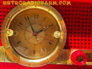 SOLD! - Nov 17, 2016 - VALENTINE'S DAY- Red and Pink Retro Jetsons 1961 CBS C230 Tube AM Clock Radio Mint Condition! - [product_type} - CBS - Retro Radio Farm
