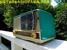 Load image into Gallery viewer, SOLD! - Aug 14, 2016 - BLUETOOTH MP3 READY - Turquoise and White Retro Jetsons 1956 RCA Victor Model 9-C-71 Tube AM Clock Radio Works! - [product_type} - RCA Victor - Retro Radio Farm