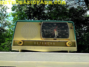 SOLD! - Aug 14, 2016 - BLUETOOTH MP3 READY - Turquoise and White Retro Jetsons 1956 RCA Victor Model 9-C-71 Tube AM Clock Radio Works! - [product_type} - RCA Victor - Retro Radio Farm