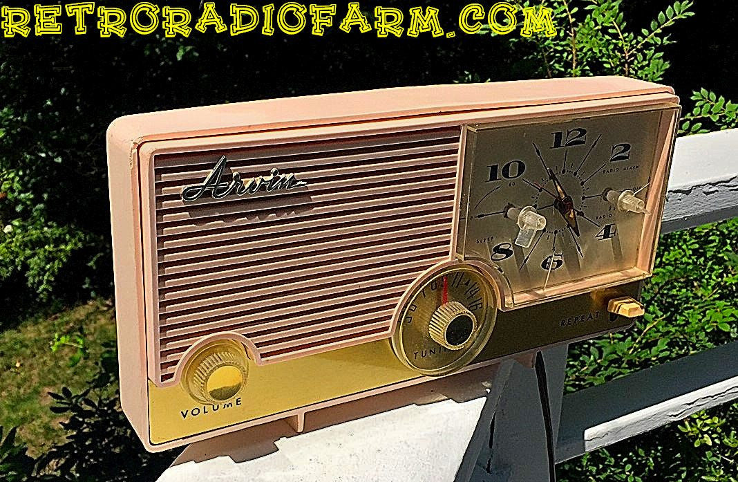 SOLD! - Nov 28, 2016 - BLUETOOTH MP3 Ready - Fabulous Pink Mid Century Jetsons Vintage 1960 Arvin Model 5583 Tube Radio Amazing! - [product_type} - Arvin - Retro Radio Farm