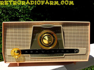 SOLD! - Sept 3, 2016 - PINK AND WHITE Atomic Age Vintage 1959 RCA Victor Model X-4HE Tube AM Radio Amazing!