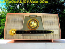 Load image into Gallery viewer, SOLD! - Sept 3, 2016 - PINK AND WHITE Atomic Age Vintage 1959 RCA Victor Model X-4HE Tube AM Radio Amazing!