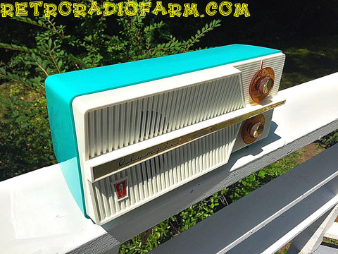 SOLD! - Dec 17, 2016 - AZURITE Blue Mid Century Jet Age Retro 1959 Olympic Model 557 Tube AM Radio Totally Awesome!!