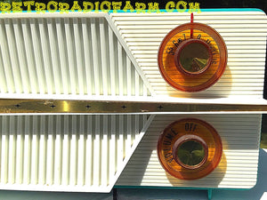 SOLD! - Dec 17, 2016 - AZURITE Blue Mid Century Jet Age Retro 1959 Olympic Model 557 Tube AM Radio Totally Awesome!! - [product_type} - Olympic - Retro Radio Farm