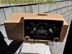 SOLD! - Nov 23, 2016 - BEIGE PINK Mid Century Jetsons 1959 General Electric Model C-4340 Tube AM Clock Radio Totally Restored!