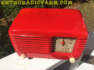 SOLD! - Nov 28, 2016 - LIPSTICK RED Vintage Deco Retro 1947 Philco Transitone 48-200 AM Bakelite Tube Radio Works!