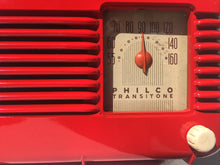 Load image into Gallery viewer, SOLD! - May 25, 2016 - LIPSTICK RED Vintage Deco Retro 1947 Philco Transitone 48-200 AM Bakelite Tube Radio Works!