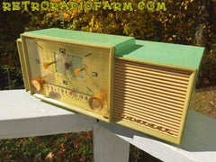 SOLD! - Dec 8, 2016 - BEAUTIFUL PASTEL GREEN Retro Jetsons 1959 Admiral 298 Tube AM Clock Radio Sounds Great!