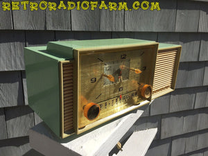 SOLD! - Dec 8, 2016 - BEAUTIFUL PASTEL GREEN Retro Jetsons 1959 Admiral 298 Tube AM Clock Radio Sounds Great! - [product_type} - Admiral - Retro Radio Farm
