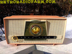 SOLD! - Jan 18, 2017 - PINK AND WHITE Atomic Age Vintage 1959 RCA Victor Model X-4HE Tube AM Radio Amazing!