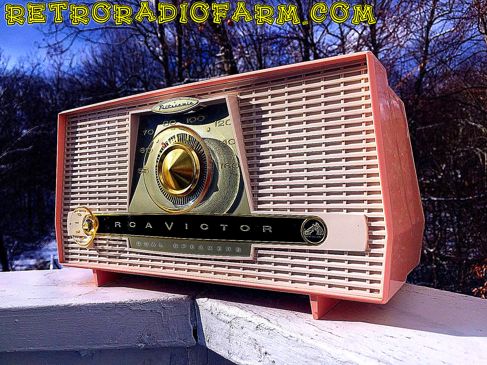 SOLD! - Jan 18, 2017 - PINK AND WHITE Atomic Age Vintage 1959 RCA Victor Model X-4HE Tube AM Radio Amazing! - [product_type} - RCA Victor - Retro Radio Farm