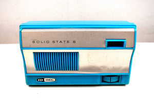1965 Sky Blue Vintage Portable Pocket ID IDEAL Solid State AM 6 Transistor Radio Needless to Say Rare!
