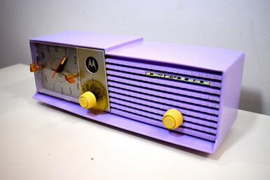 Lavender Lady Mid Century 1957 Motorola Model 57CD Vacuum Tube AM Clock Radio Rare Color! Sounds Great!