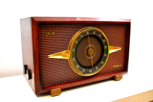 Mahogany Brown Wood Mid Century 1954 RCA Victor Model 6-RF-8 The Livingston AM FM Vacuum Tube Radio Big Daddy Sound and Size!