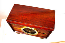 Load image into Gallery viewer, Mahogany Brown Wood Mid Century 1954 RCA Victor Model 6-RF-8 The Livingston AM FM Vacuum Tube Radio Big Daddy Sound and Size!