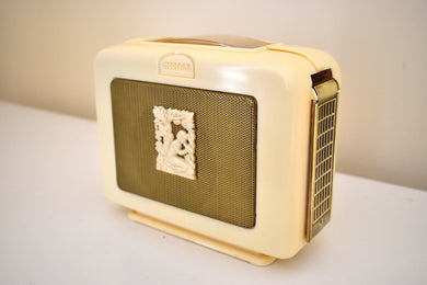 Made in France Goddess Ivory 1951-1954 Marconi Model Baby 41 AM Shortwave Vacuum Tube Radio Enchante!