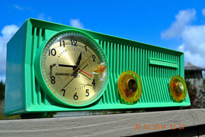 SOLD! - Sept 4, 2014 - BEAUTIFUL SEA GREEN Retro Jetsons 1957 Mororola 57CS Tube AM Clock Radio WORKS! - [product_type} - Motorola - Retro Radio Farm